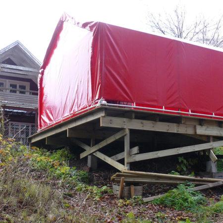 Hus, garage & förrådstält